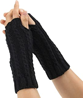 SGJFZD Women's Winter Cozy Wool Gloves Knit Arm Warmer Cable Knit Fingerless Gloves Mittens Thermal Gloves (Color : Black)