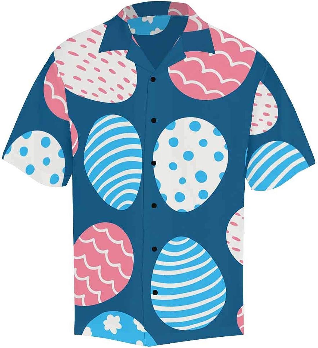 InterestPrint Men's Casual Button Down Short Sleeve Easter Egg Leaves Hawaiian Shirt (S-5XL)