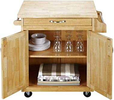 Homelity Mobile Kitchen Island Cart on Wheels, Small Rolling Cutting Board Island, Kitchen Island & Cart for Small Spaces wit
