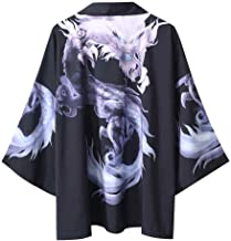 Beihxwe Japanese Yukata Coat Kimono Jacket Half Sleeve Shirt Dragon Print Cloak Jacke Top Blouse Kimono Cardigan for Men Women