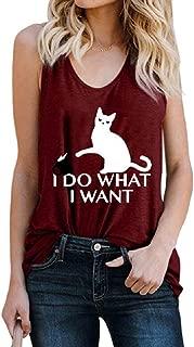HTOOHTOOH Women Cat Slim Fit Sleeveless Casual Summer Letter Print Tank Top Cami Blouse Shirt Black Large