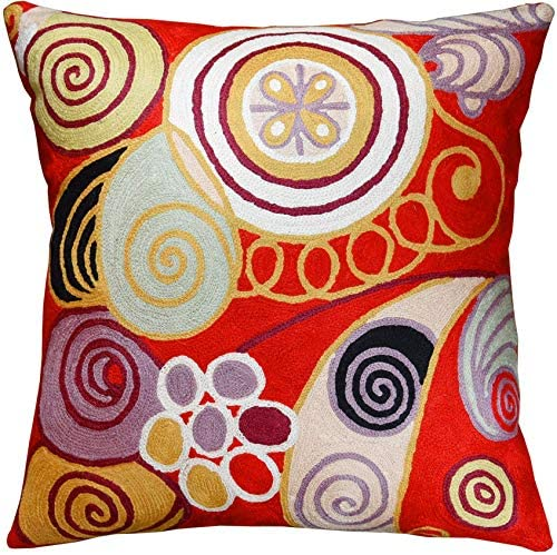 Kashmir Designs Hilma Al Klint Red Pillow Cover Modern Red Pillows Abstract Chair Cushion Accent product image
