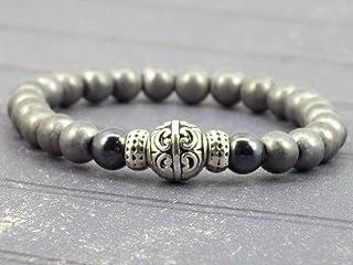 Bracciale per gli uomini in ematite nero e grigio e perle di tibetani