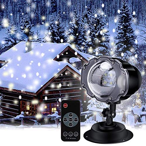 nbws LED Proyección lámpara, efecto de nieve Caso, Navidad Luz decorativa, césped luz, 4Mods Proyección lámpara, con mando a distancia, adecuado para Indoor, Exterior, niños, halloween