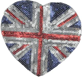Ximkee(10 Pack) UK Flag Heart Sequin Sew Iron On Embroidered Patches Appliques
