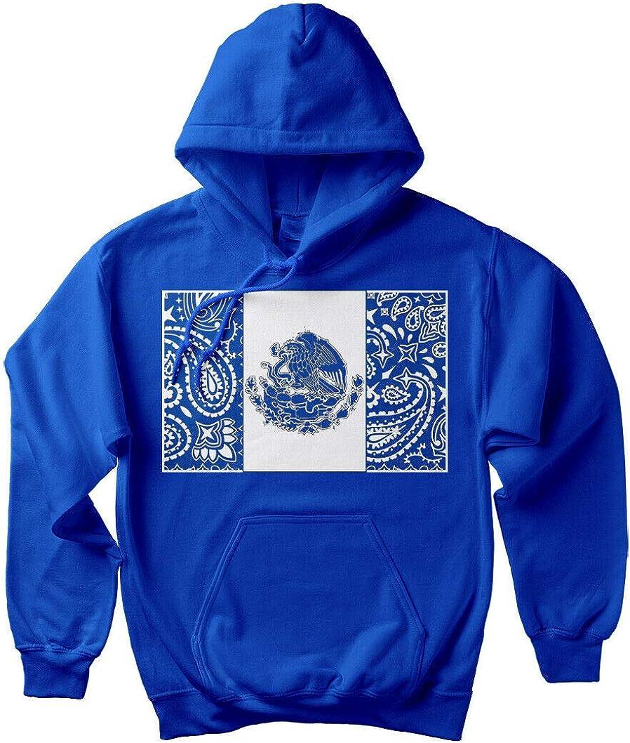 Men's Blue Bandana Mexico Hoodie Mexican Flag Cholo Aztec Art Hooded Sweatshirt