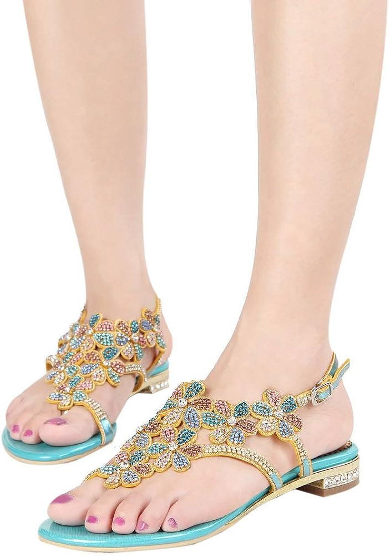 YooPrettyz Open Toe Pump Heels Women Crystals Studs Flowers T-Strap Flats Sandals shoes