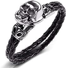 THTHT punk doodshoofd-armbanden zwart gevlochten lederen armband