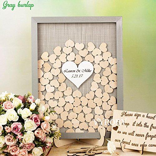Gästebuch-Alternative zu Hochzeiten, individuelles Design, Bilderrahmen mit rustikalen Holzherzen,...