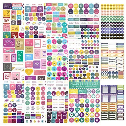 Planner Stickers für Erwachsene Niedliche Lebenszielplan Aufkleber für das Jahr Vierteljährliche, Monatliche, Wöchentliche Tagespläne 15 Blatt 815St