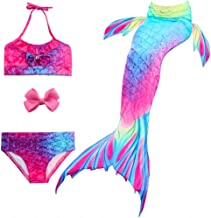 LDFWAY Kids Girls Mermaid Tails for Swimming Swimwear Swimsuit 3 Pcs Bikini Sets (4-5 Years/Tag 110, Pink1)