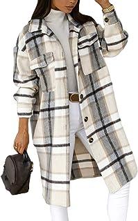 Romose Women Plaid Pockets Buttons Long Sleeve Oversize Blouse Coat Long Jacket Shirt Jacket Lumberjack Boyfriend Jacket