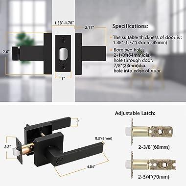 Probrico 10 Pack| Matte Black Privacy Door Levers, Heavy Duty Bed and Bath Door Locks Interior Keyless Locksets, Reversible F