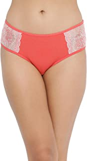 Clovia Women's Mid Waist Hipster Panty with Lace Panels in Orange -Lace & Cotton
