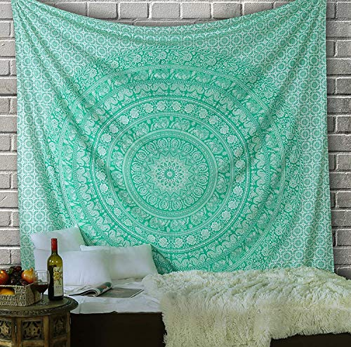 Tapiz Mandala Colgar en la Pared - verde Tapices Decorativo Cubierta Decorativa Casera Etnica India Tapestry -verde - 228 x 213 cm