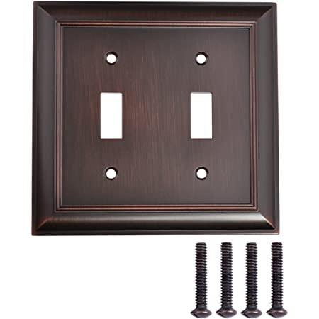Amazon Basics Double Toggle Light Switch Wall Plate Oil Rubbed Bronze Set Of 2