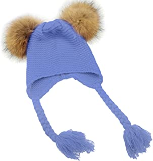 Baby Boys Girls Raccoon Fur Double Pompom Ball Hat Winter Knitted Warm Cap