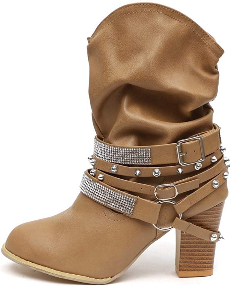 VOMIRA Women's Today's only Ankle Boots Vintage Chunky Heel buc Max 86% OFF Block Booties