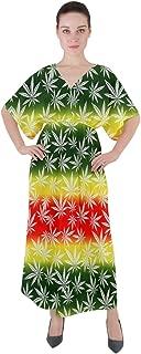 CowCow Womens Loose Maxi Dress Marijuana Cannabis Plant Marihuana Leaves V Neck Boho Style Maxi Dress
