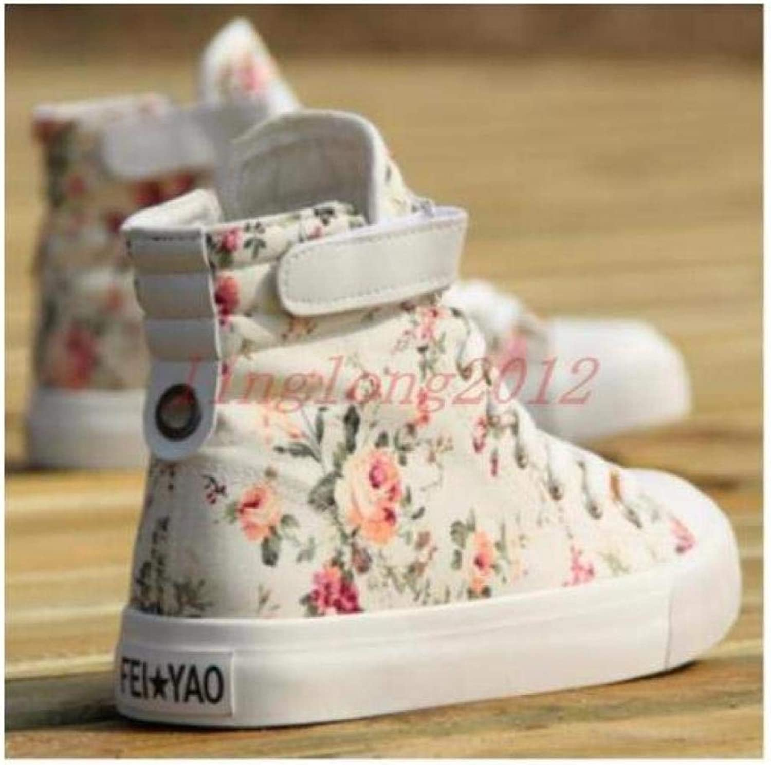 FidgetFidget Womens Canvas Round Floral Printed shoes Casual High Top Lacup Sneakers Boots WhitUS8   UK6   EUR39   24.5cm White