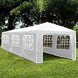 Home Discount Tonnelle de Jardin Vida avec Panneaux latéraux - Tente de réception avec Fermeture éclair - Auvent de Jardin résistant à l'eau et Coupe-Vent, Blanc, 3 x 9 m