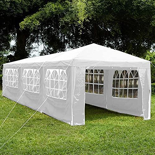 Garden Vida Gazebo con Pannelli Laterali 3 x 9 m Tendone Zip Up Party Tenda Outdoor Garden Canopy Impermeabile con Barre del Vento, Bianco, Polietilene, Acciaio