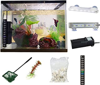 SALUTE All in One Aquarium Kit Fish Tank 3.5 Gallon White Glass with Filter Pump LED Lighting Thermometer Stones Clean Tools in Office