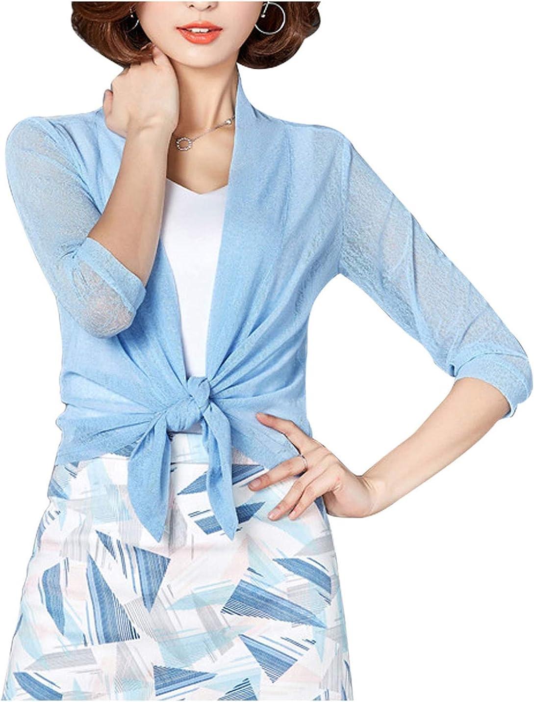 Omoone Women's Cropped Mesh Knit Tie Top Lightweight Sheer Shrug Bolero Cardigan