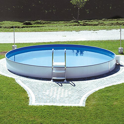 Miganeo® Stahlwandpool Styra rund, Einbaupool, Pool verschiedene Größen 350x120cm - 600x150cm, auch zum Erdeinbau (350x120cm)