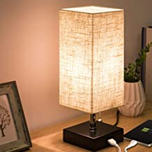 LED Bedside Table Lamp Nightstand Lamp Desk Lamp Fabric Linen Lamp Shade with USB Charging Ports Pull Chain Switch for Bed...