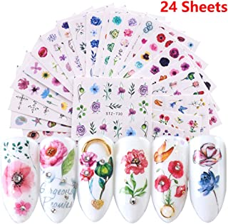 Comdoit Nail Stickers for Women Nail Art Accessories 24 Sheets Nail Art Stickers Water Transfer Nail Decals Design Rose Flower Leaf Cactus Patterns Fingernail Tattoos Manicure Tip Charms Decorations