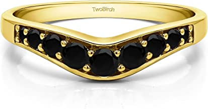 Black Diamonds Graduated Curved Wedding Band In 14k Yellow Gold(0.43Ct) Size 3 To 15 in 1/4 Size Interval
