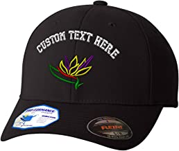 Custom Flexfit Baseball Cap Plants Bird of Paradise Embroidery Design Polyester