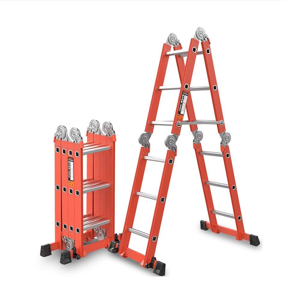 Escalera plegable, elevación de múltiples funciones gruesa de la aleación de aluminio de 2.5mm y escalera de contratación for el edificio de Ministerio del Interior (Size : 3.7m): Amazon.es: Bricolaje y herramientas