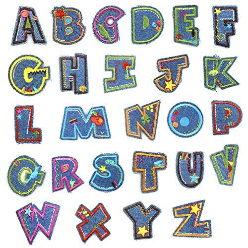 Natuce 26er Alphabet Stickerei Patches Aufnäher Bügelbild Aufbügler Bügeleisen auf Patches Applikation Nähen Eisen Auf Patch Abzeichen Bestickte Stoff DIY Kleidung Tasche Hut