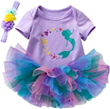 Newborn Infant Baby Girls Bodysuit Outfit Mermaid Romper Tutu Dress Party Costume Headband Set