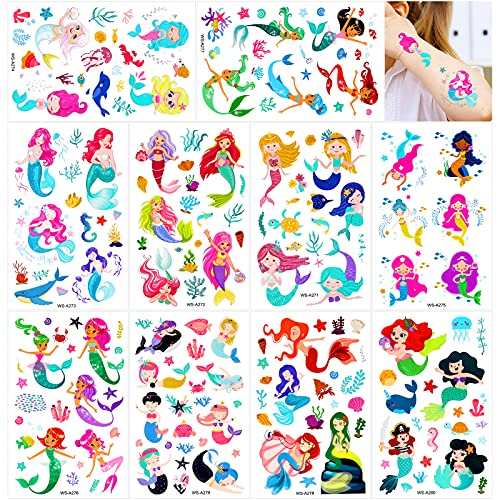 Konsait Mermaid Tattoos for Kids, 188+ Pcs Mermaid Temporary Tattoos Body Stickers for Girls Children Birthday Party Baby Shower Party Favors Boys Girls Kids Party Goodie Bag Fillers Supplies