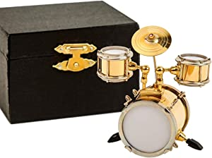 Seawoo Miniature Drum with Case Mini Percussion Musical Instrument Mini Drum Miniature Dollhouse Model Christmas Ornament and Gift (Drum)