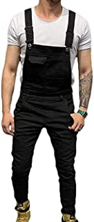 Men's Slim Fit Bib Overalls Washed Jeans Jumpsuit Trousers with Pocket
