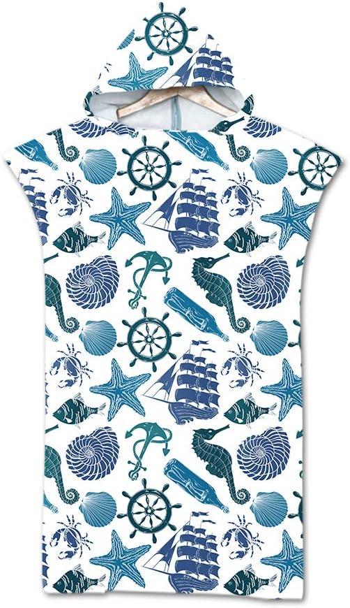 Adulto Spiaggia Robe Cambiarsi Donna Uomo Assorbente Telo da Bagno Asciugatura Rapida Copricostume Accappatoio per Surf Bagno Treer Poncho Asciugamano con Cappuccio 75x110cm,Blu Cavallo di Mare
