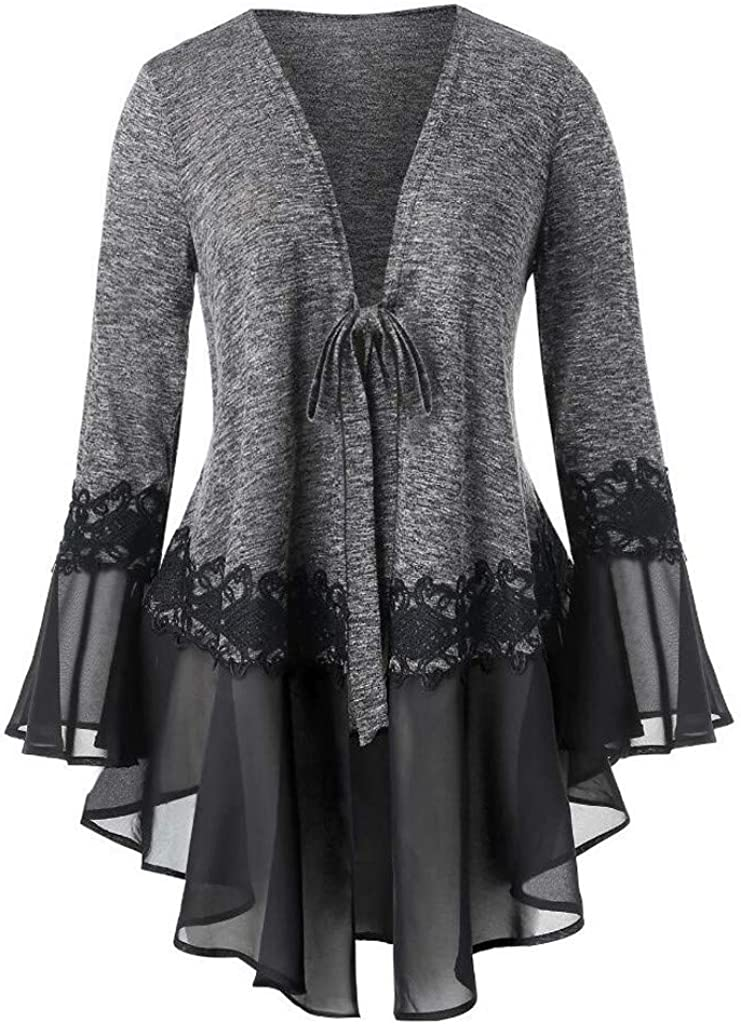 POTO Tops for Women Irregular Long Sleeve Tops Patchwork Chiffon Casual Tee Shirts Pullover Sweatshirt Blouses