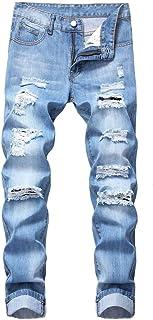 Men's Slim Fit Jeans Ripped Distressed Skinny Straight Leg Biker Moto Denim Pants