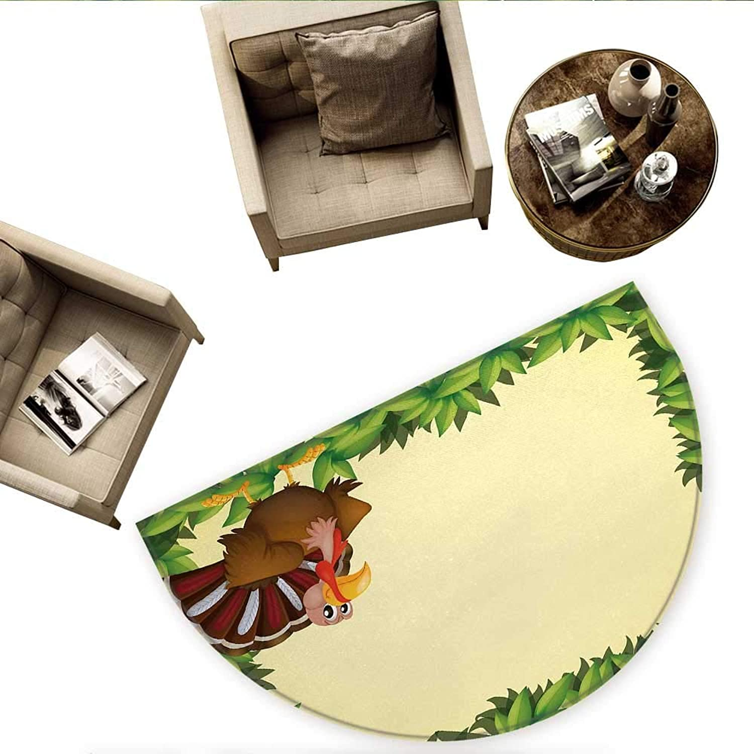 Kids Thanksgiving Semicircle Doormat Turkey with Happy Expression Green Foliage Fresh Leaves Halfmoon doormats H 63  xD 94.5  Green Pale Yellow Brown