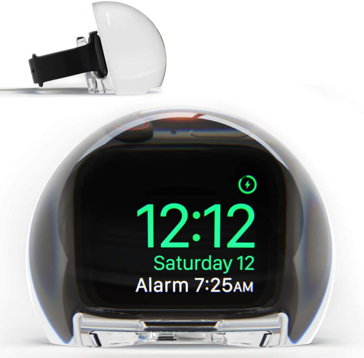 NightWatch Magnifying Clock Dock for Apple Watch - Nightstand Charging Station | Amplify Alarm and Display | Ultimate Bedside Night Mode Stand
