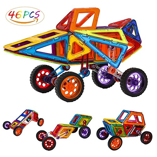 Security Magnetic Tiles Building Block Magnet Stacking Toy Set, Magnet Tiles Kits for Kids (Above 3 Year-Old ) - 46 PCS