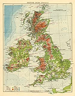 BRITISH ISLES RELIEF. Showing isotherms in January & July. JOHNSTON - 1899 - old map - antique map - vintage map - British Isles maps