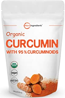 Maximum Strength Organic Curcumin Powder (Natural Turmeric Extract and Turmeric Supplements), 100 Grams, Rich in Antioxidants for Joint Support, No GMOs and Vegan Friendly