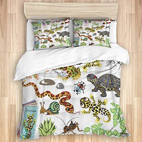 KASABULL Bettwäsche Rote Schlange Reptilien Amphibien und Insekten Cartoon Terrarium Tiere,135 x 200cm Bettwäscheset Neue Winterdecke Aus Mikrofaser Mit 2 Kissenbezügen