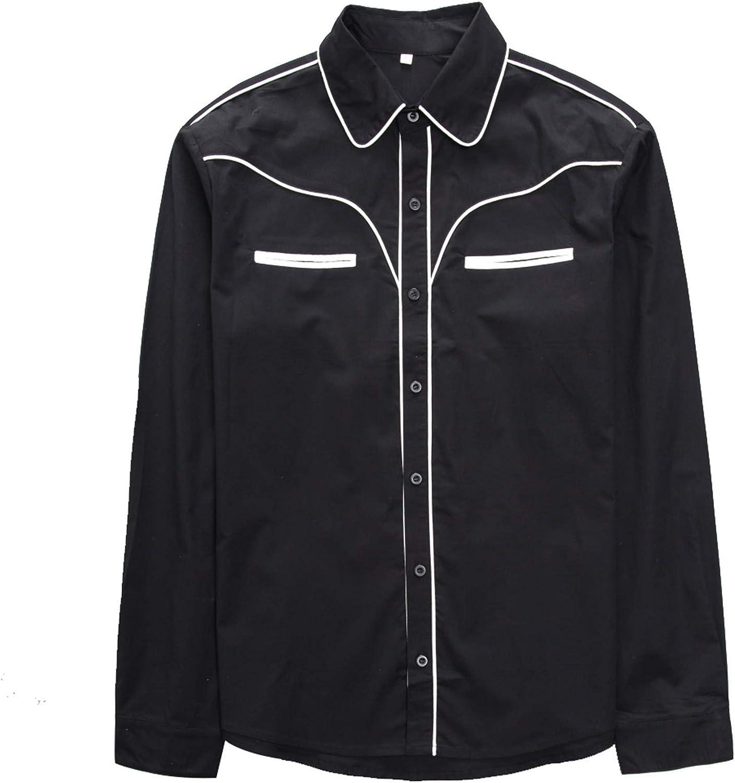 Anchor MSJ Men's 50s Retro Camp Rockabilly Goth Style Cotton Mens Shirts Long Sleeve Fifties Bowling Casual Dress Shirts