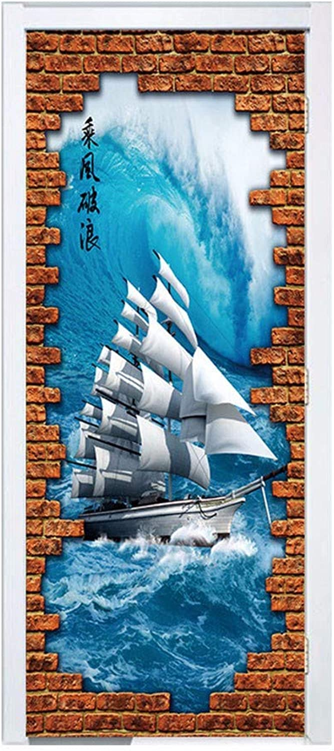 SXKRE Door stickerPersonality Multiplication Breaking Wave Sailing Porch Bedroom PVC Wall Stickers